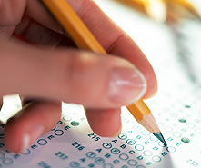 pencil filing in standardized test form