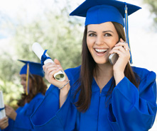 college grad talking on phone