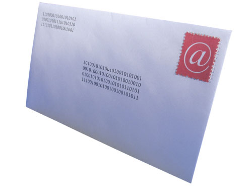 An envelope with an address on it.