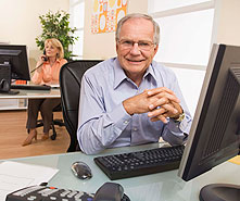 older workers in a modern office
