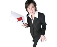 An annoyed woman holding a piece of paper and a red flag.