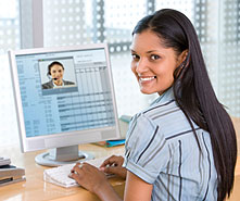 woman on virtual job fair video conference